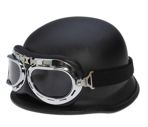 DOT Approved WWII German Vintage Motorcycle Helmet Motocicleta Capacete Casco motorbike scooter Half Helmets With Goggles
