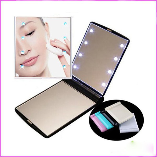 LED Makeup Mirror Mini Makeup Mirror Foldable Portable Folding Compact  Cosmetic With LED Light Retail Packing