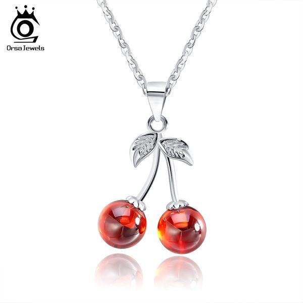 ORSA JEWELS 925 Sterling Silver Rouge Pierre Naturelle Cerise Pendentif Colliers pour Femmes Véritable Argent Bijoux Collier Cadeau SN03
