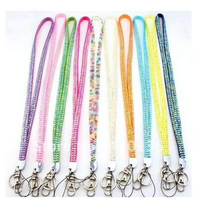 Pendant Necklaces 300pcs via DHL Bling Lanyard Crystal Rhinestone in neck with claw clasp ID Badge Holder for Mobile phone 40 colors