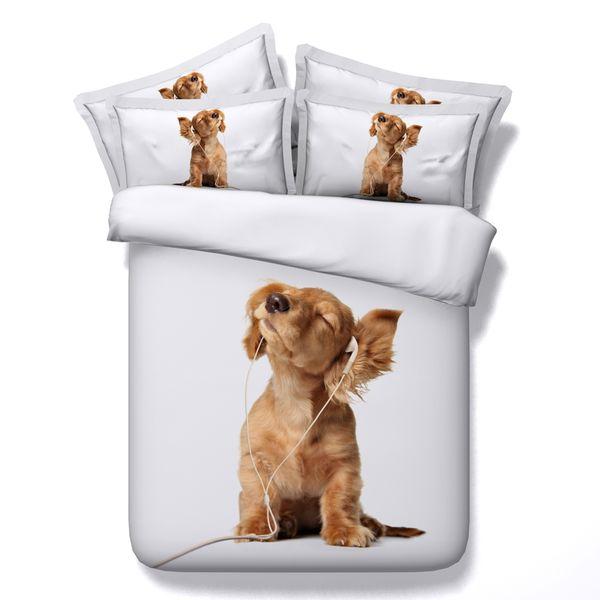 5 Styles White Dog Balloon 3D stampato Set di biancheria da letto Twin Full Queen King Size Biancheria da letto Copriletti Copripiumini Cat Animal Pet 3 / 4PCS Fiore