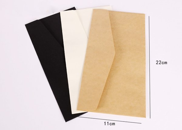 Wholesale-100pcs 22x11cm Kraft Envelopes business invitation card money postcard cover message card European Paper Envelope