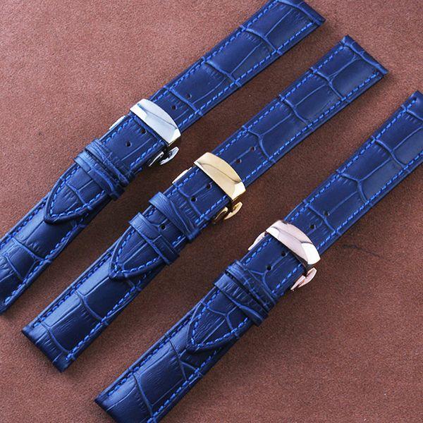Großhandels-16mm 18mm 20mm22MM Dark-Sea-Blau neue Uhrenarmbänder, echtes Leder Uhren Bügel, Silber Schmetterling Faltschließe für Männer Uhren
