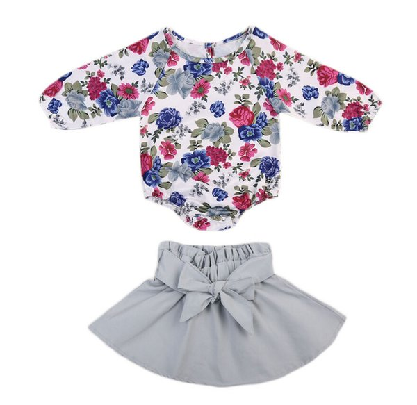 Ins Baby girl Floral Jumpsuit Balloon sleeve + Petal Bow skirt 2pcs/set Top Romper Baby girls clothes 2017 Autumn