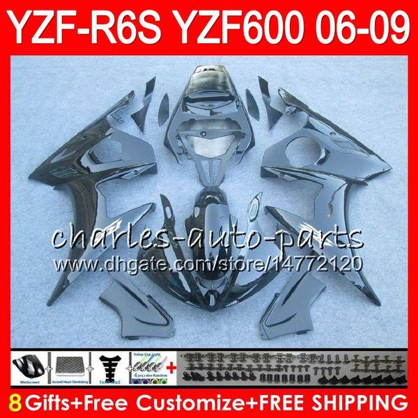 8Gifts 23Color Body For YAMAHA YZF600 YZFR6S 06 07 08 09 57NO11 gloss black YZF R6 S YZF 600 YZF-R6S YZF R6S 2006 2007 2008 2009 Fairing kit