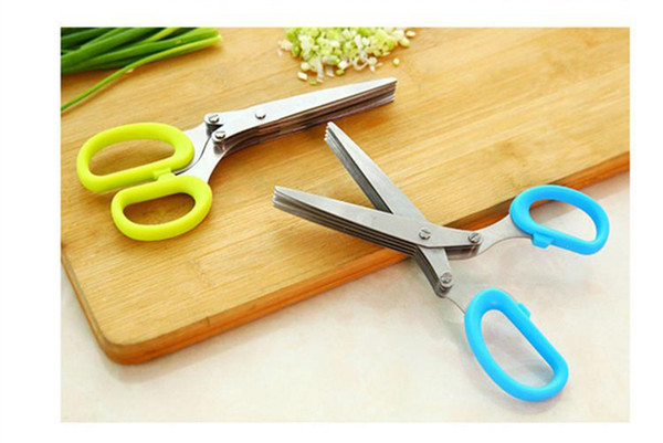 60pcs Stainless Steel Shallots Metal Shears Kitchen Scissors 5 Blade  Devices Cut Onions Crushed Spices Cooking