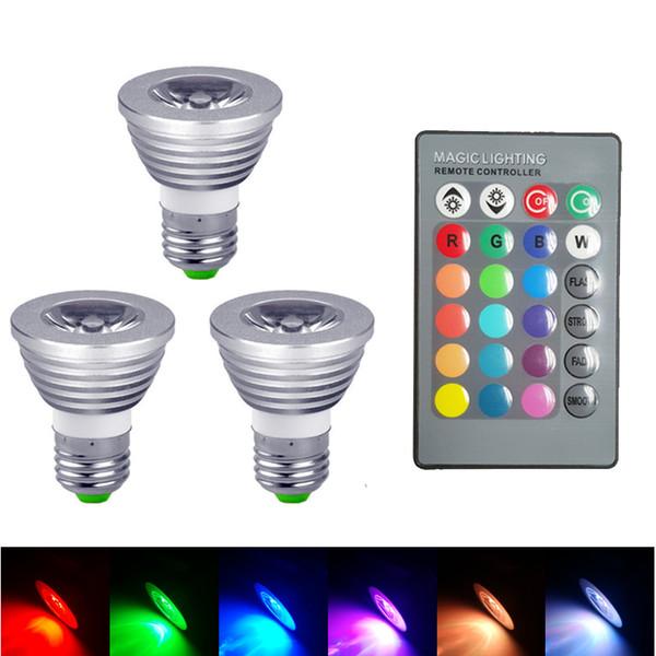 E27 E14 RGB LED Lights Bulbs 3W 5W Bulb Lamp RGB 16 Colour Changing Light Remote