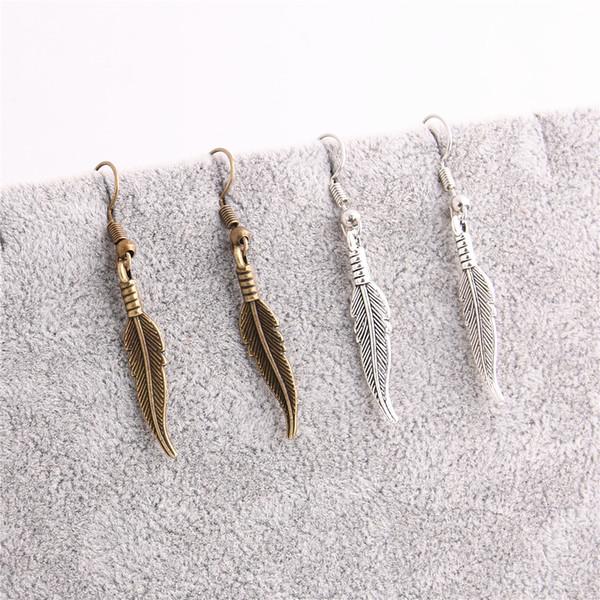 20 pçs / lote liga de metal de zinco antigo de bronze pena de prata folha pingente charme brincos pingente diy jóias fazendo c0624