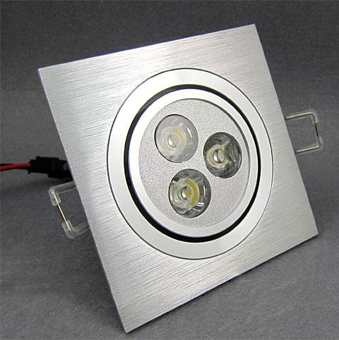 high power 3W LED downlight,dimmable LED ceilling light, Square wire drawing silver, Warranty 2 year,SMDL-5-102