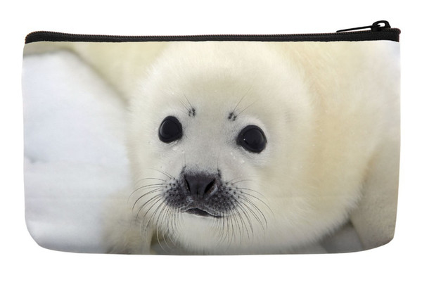 Wholesale- Baby Harp Seal Pup On Ice of The White Sea Print Customized Small Cosmetic Bag Wristlet hand bag