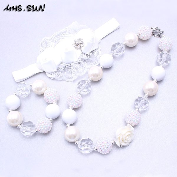 MHS.SUN White Color Flower Necklace&Bracelet Headband 3PCS Set Birthday Party Gift Toddlers Girls Bubblegum Baby Kid Chunky Necklace Jewelry