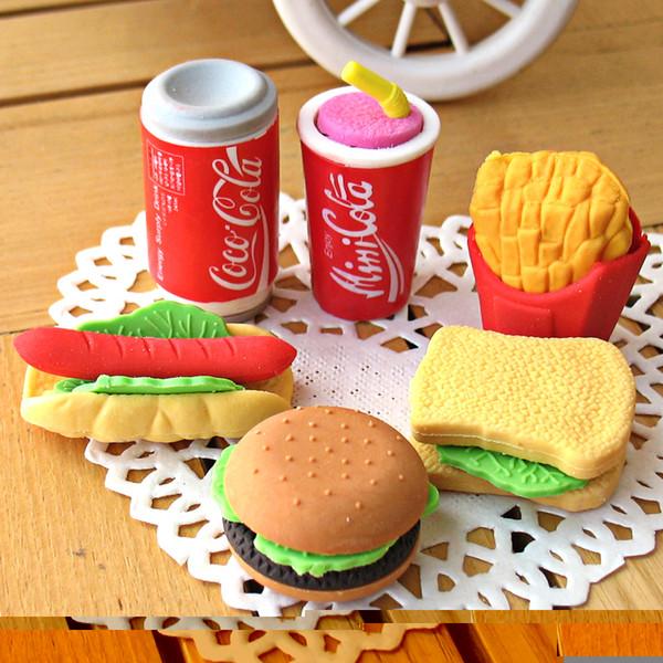 Free Shipping! New Cute Simulation Fruit Eraser, more Designs, Office Rubber Eraser Gift, 6pcs/set,