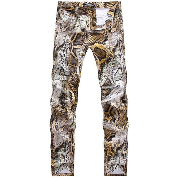 Wholesale-2016 New Mens Snakeskin Printed Jeans Slim Fit Skinny Night Club DJ Trousers Pants Slacks For Male Plus Size