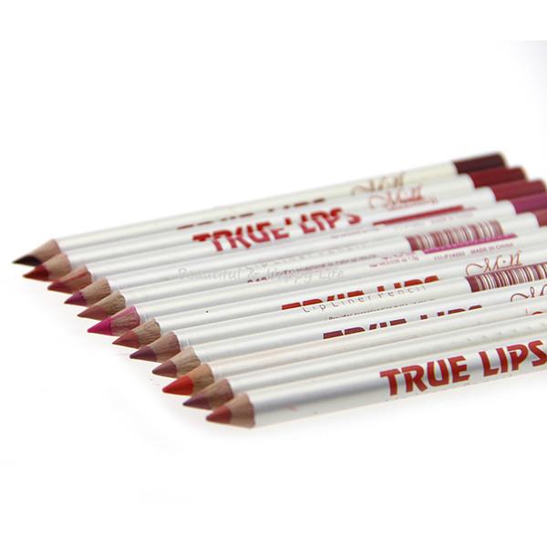 Toptan Satış - Toptan-12 Adet / Lot Gerçek Dudaklar 12 Renk Dudak Kalemi Marker Suya Makyaj Profesyonel Ruj Kalem Kalem Kozmetik Araçlar Marka