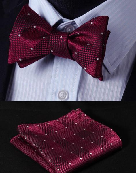 Vente en gros Dot Bourgogne Groom Wear Plaid Groom Cravates Avec Free Kerchief Divers Coloriage Homme Costume Décoration