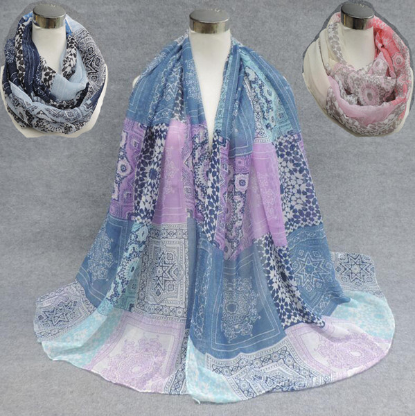 New Design Retro Flower Print Voile Cotton Infinity Scarf Fashion Circle Scarf Large Size Long Scaves Women Dot Print around Scarfs 6Colors