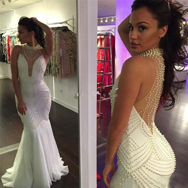 Evening Dresses on Sale Vestidos De Noite Longos 2017 High Neck White Chiffon Mermaid Prom Dresses with Pearls