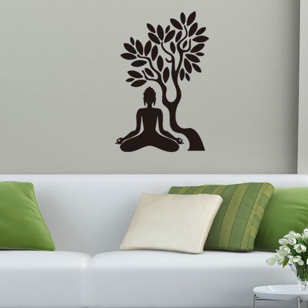 57x85cm Buddha Under The Bodhi Tree Vinyl Large Wall Stickers Removable Art  Mural For Home Decoration