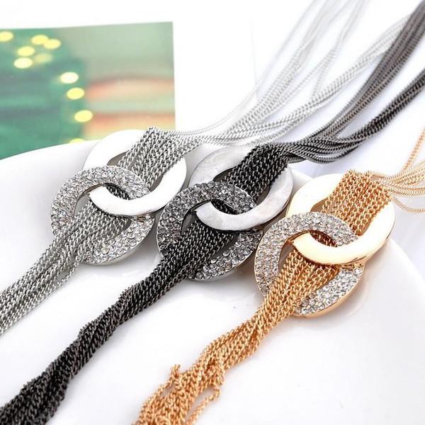 Женщины кулон ожерелья длинные кисточкой ожерелье подвески многослойные женщины высокое качество ожерелье 18K позолоченные австрийский хрусталь свитер цепи