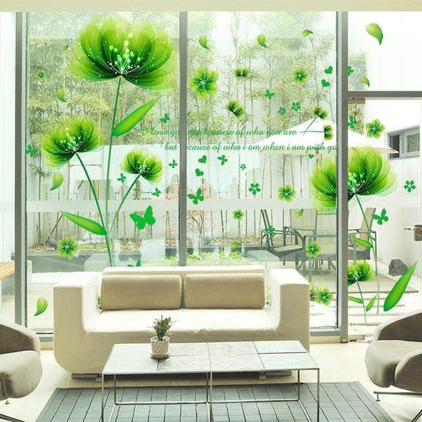 Großhandel SHIJUEHEZI Grüne Blumen Wandaufkleber Vinyl DIY Pflanzen  Wandtattoos Wohnkultur Für Wohnzimmer Schlafzimmer Glas Dekoration Von  Fos5, $12.3 ...