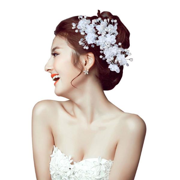 Korean handmade crystal bridal hairpins jewelry for women and girls white pearl rhinestones wedding hiar accessories