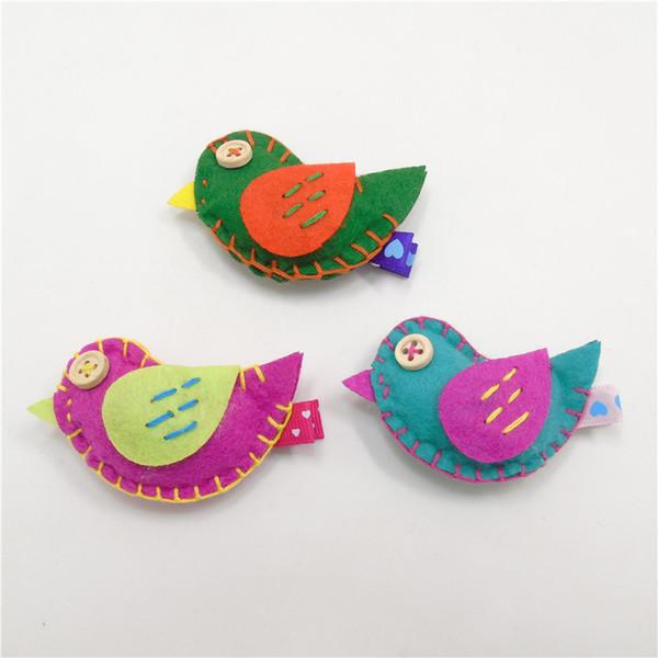 20pcs/lot Handmade Felt Bird with Wings and Button Eyes Hair Grips Cartoon Animal Girl Hair Clip Barrettes Fashion Head Hairpins