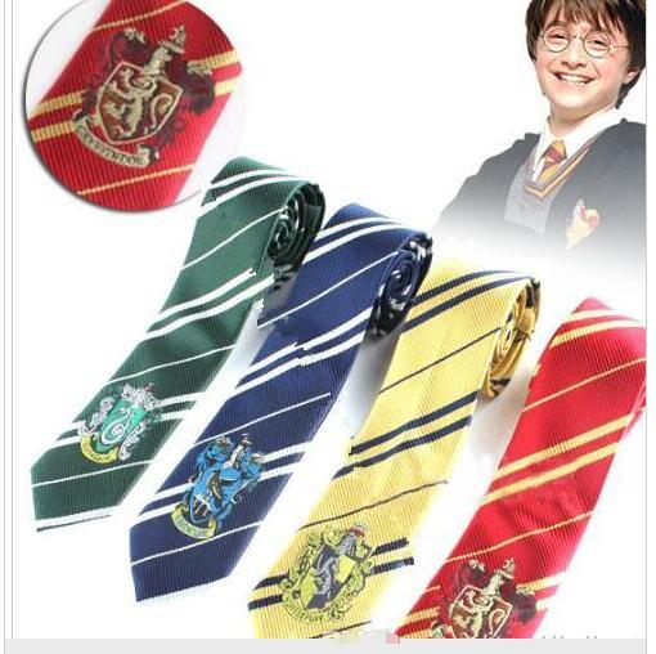 top popular New Harry Potter scarves Ties Gryffindor Slytherin Badge Ties Ravenclaw Hufflepuff Necktie Hogwarts Stripes Neckwear Costume Tie 4 design 2019