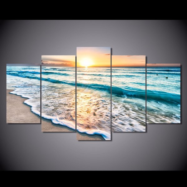 5 Pcs/Set Framed HD Printed Seascape Sunset Beach Sand Picture Canvas Print Decor Poster Canvas Wall Art Oil Painting