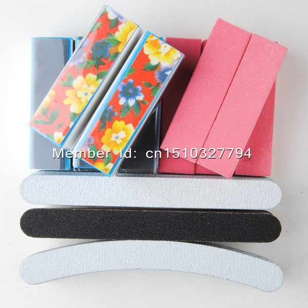 Wholesale- 40Pcs/lot blue Pink White Black Buffing Sanding Files Block Pedicure Manicure Care Nail Art Buffer RUSSIA Free shipping