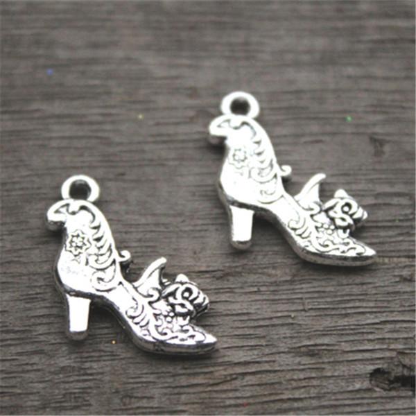 15pcs - High Heel Shoe Charms, antike tibetische Silber 2-seitige High Heels mit Blumen Charm Anhänger 20X19mm