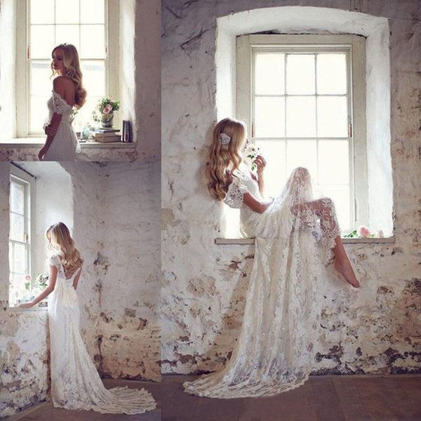top popular Full Lace Wedding Dresses Sheath Cap Sleeve Sweetheart Bridal Dress Illusion Lace Applique Beading 2017 With Sash Wedding Dresses In Stock 2019
