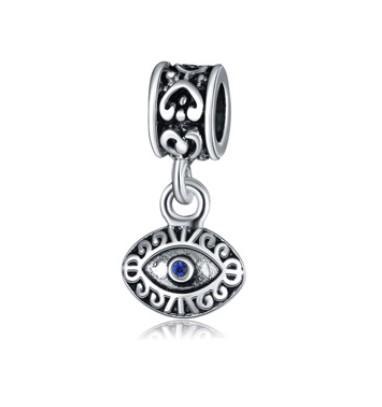 La venta al por mayor 30pcs 925 plateó el ojo malvado azul de los granos del encanto europeo de la joyería apta de Diy de la pulsera de Pandora de las mujeres del grano pendiente de Turquía