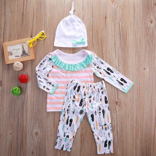 Baby Clothing Kids Boutique Clothes Set Toddler Outifit Pajamas Christmas Fall Girl Set Long Sleeve Shirt+Legging Pants+Hat Wholesale