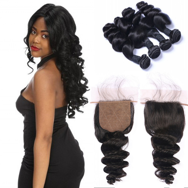 Malaysian Virgin Hair Loose Wave with Closure 4x4 Natural Black Silk Base Closure with 4 Bundles Can be Dyed FDSHINE