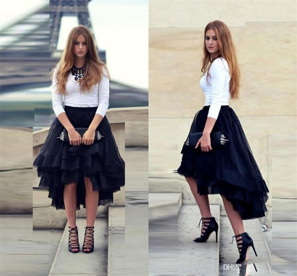 Women Fashion Skirts High Low Tutu Skirts Tulle High Quality Formal Dress Wear Tiered Cheap Party Dress Bust Skirt Formal Gowns