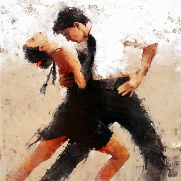 Framed Tango Dancers,Hand-painted Modern Impression Art Oil Painting,Home Wall Decor On High Quality Canvas size can be customized