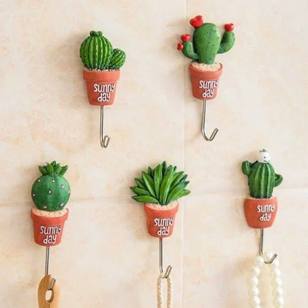Wholesale- New 5 Style Simulation of Small Potted Stainless Steel Robe Hanging Hooks Hats Key Adhesive Wall Hanger Bathroom Kitchen