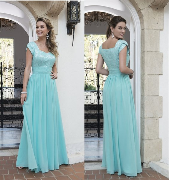 Vintage Lace Chiffon Long Modest Bridesmaid Dresses With Short Sleeves Mint Green Country Bridesmaids Dresses Cheap For Wedding