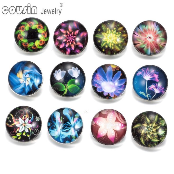 KZ0263 12pcs/lot 18mm Snap Button Jewelry Faceted Exotic Glass Snap Fit DIY Bracelet Interchangeable Flower Ginger Snaps Jewelry