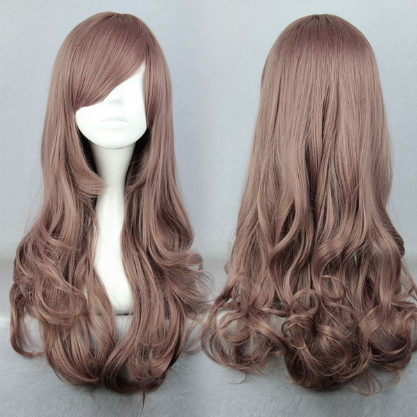 MCOSER Free Shipping High Grade Synthetic Brown 60cm Long Wave Lolita Wig