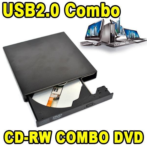 Wholesale- 2017 Slim External USB CD-RW Rewrite Burner Recorder Optical Drive Mobile DVD ROM Reader Combo for Tablets Computer PC Laptop
