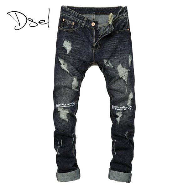 Wholesale- Ripped jeans for men hot sale skinny jeans size 28 to 36 slim fit mens denim trousers brand design dark color casual men jeans