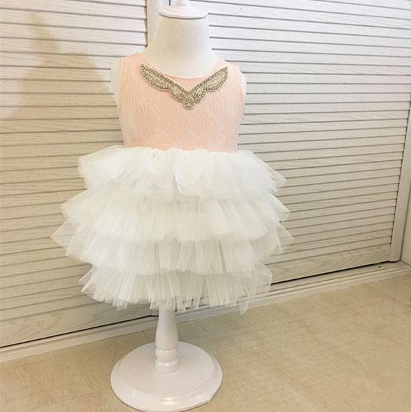 Çocuklar Kızlar Dantel Elbiseler Bebek Kız Çiçek Baskı Elbise Butik 2017 Bebek Prenses Tül Yelek Tutu Elbise için Parti Çocuk Giyim B436