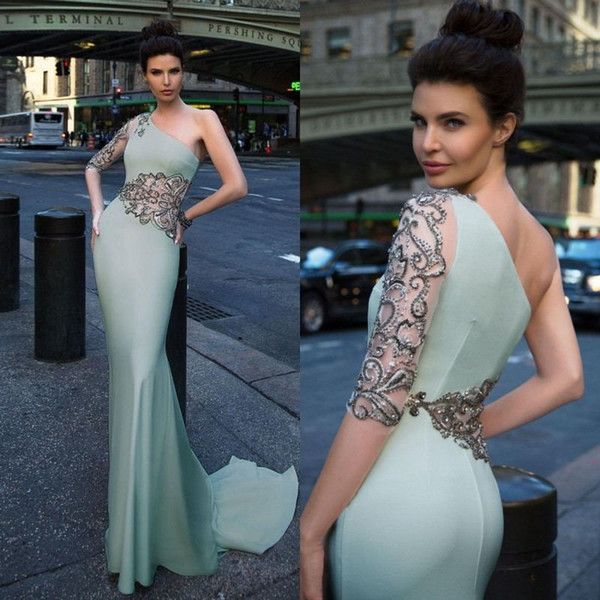 2017 Plus Size Zuhair Murad Dresses One Shoulder Floor Length Elie Saab Dress Lace Sheath Evening Gowns Sleeves
