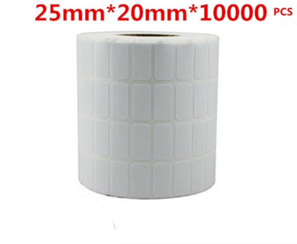 25*20mm 10000pcs/roll blank free shipping office paper barcode self adhesive sticker label for printer