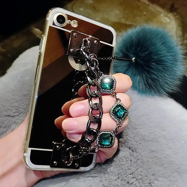 For Samsung galaxy s6 s7 edge s8 s9 plus Luxury Fashion Diamond Bracelet chain Fox soft pompom fur ball mirror case cover