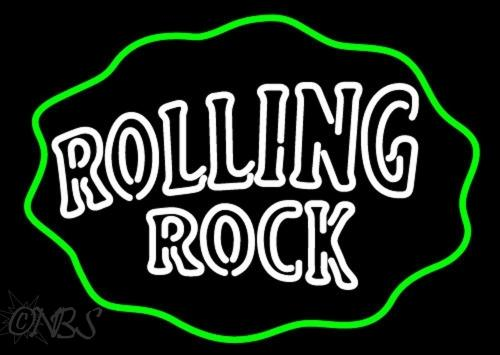 """Rolling Rock Double Lines Logo Wavy Circle Neon Sign Beer Bar Pub Store Motel KTV Display Real Glass Customized Neon Signs 17""""X14"""""""