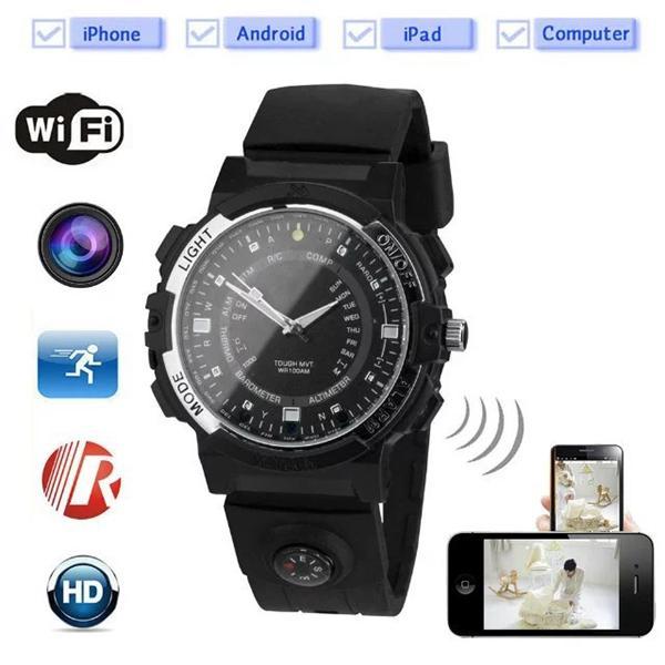 HD 720P Uhr Mini Kamera 8 / 16GB Wireless Wifi Netzwerk Watc Kamera mit IR Nachtsicht Bewegung aktiviert Watch Video Recorder PC Camcorder