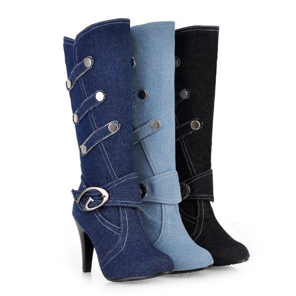 New arrivals Fashion Women Winter Boot Fashion denim boots Warm Sexy Evening Party Vintage Style Ladies Boots free shipping big size