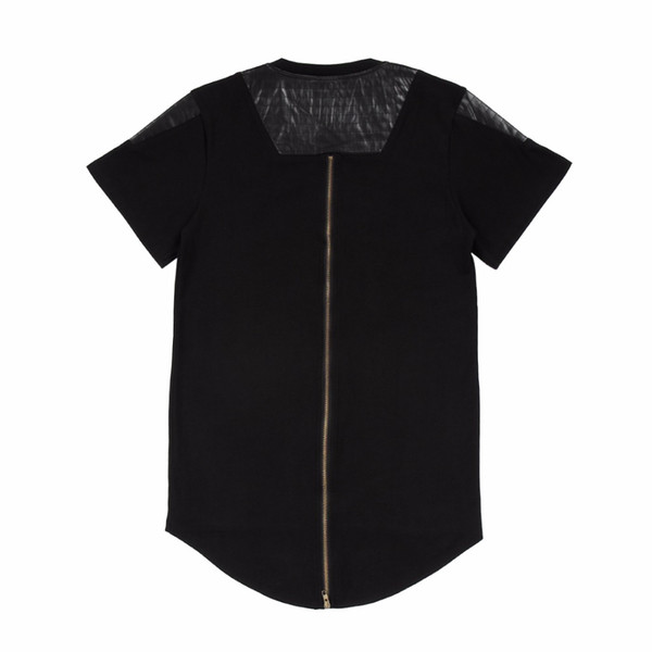 T-Shirt Kalça Hop T Gömlek Uzatın uzun Geri Altın Fermuar Swag Pamuk Tshirt Homme Kaykay Tyga Tees Siyah Beyaz T-Shirt Uzatmak